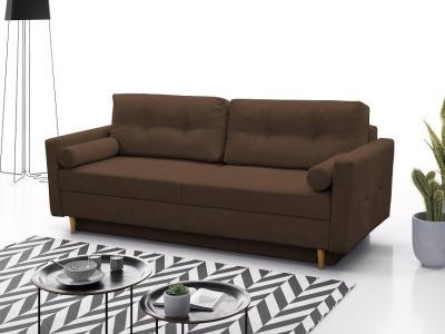 Sofá cama escandinavo 3 plazas. Tela microfibra color marrón - Halmstad