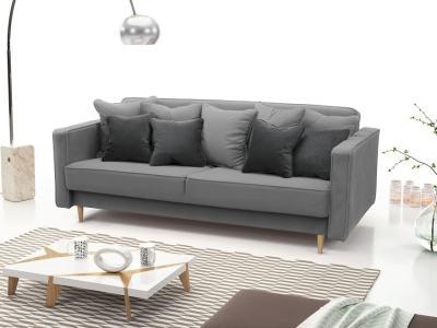 Sofá cama nórdico 3 plazas - Uppsala. Color gris claro, cojines - gris oscuro