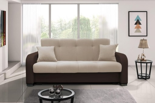 Straight Three-seater Sofa Bed - Almagro. Armrests in Brown Fabric, Seat in Beige Fabric