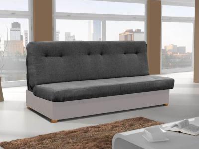 Прямой раскладной диван-кровать - Alzira. Сиденье и спинка - тёмно-серая ткань. Основание - светло-серая ткань