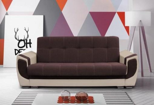 Sofá cama tapizado en tela y piel sintética - Tarancón. Tela - café (marrón), piel sintética - beige