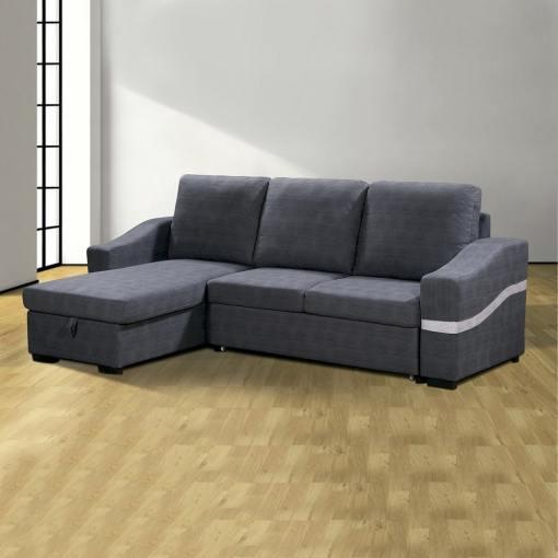 Sofá chaise longue convertible en cama con arcón. Tela gris. Chaise longue lado izquierdo - Santander