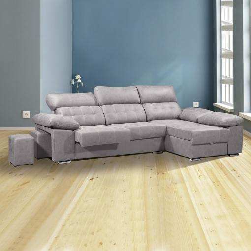Chaise Longue Sofa with Storage, Sliding Seats and Reclining Headrests - Granada. Grey Colour (Cemento), Right Corner