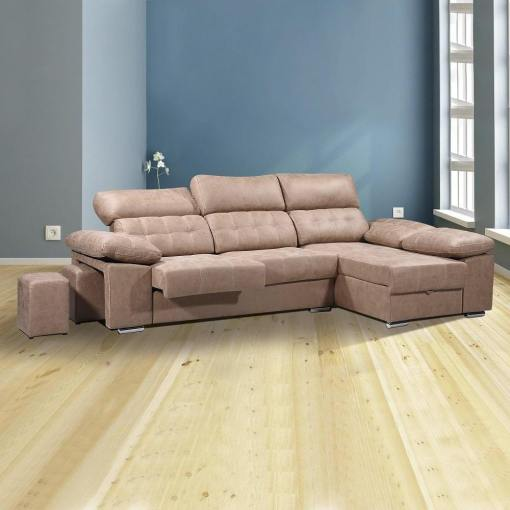 Chaise Longue Sofa with Storage, Sliding Seats and Reclining Headrests - Granada. Brown colour (piedra), right corner