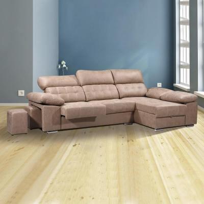Sofá chaiselongue con asientos extraíbles, arcón y reposacabezas reclinables. Chaiselongue derecha, color marrón (piedra) - Granada