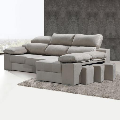 Chaise Longue Sofa with Sliding Seats and Reclining Headrests - Seville. Right Corner, Beige Colour