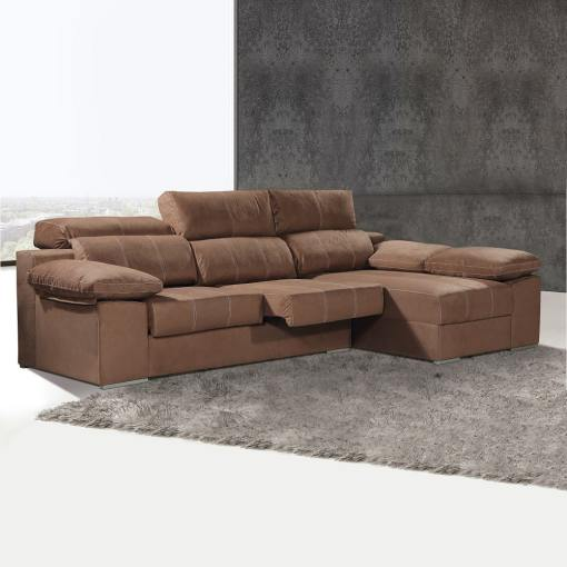 Chaise Longue Sofa with Sliding Seats and Reclining Headrests - Seville. Right Corner, Brown (Chocolate) Colour