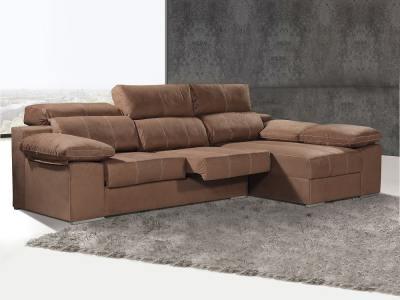 Угловой диван с выдвигающимися сиденьями и регулируемыми спинками - Seville. Коричневый цвет, правый угол