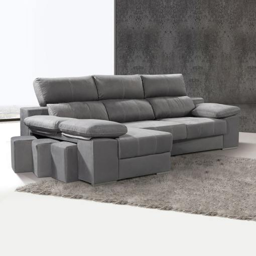 Chaise Longue Sofa with Sliding Seats and Reclining Headrests - Seville. Left Corner, Grey Colour