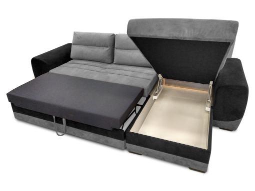 Arcón abierto. Sofá chaise longue en tela gris y negro - Cayman