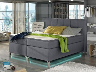 Bed 160 x 200, with LED Lights, Legs, Mattress, Storage, Headboard, Topper - Barbara. Light Grey Fabric Soro 93