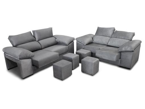 Conjunto de sofás 3+2, asientos deslizantes, respaldos reclinables y 4 pufs - Toledo. Color gris