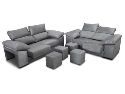 Sofa set 3+2: sliding seats, reclining backrests and 4 poufs - Toledo. Grey fabric