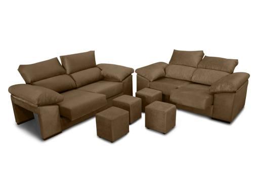 Conjunto de sofás 3+2, asientos deslizantes, respaldos reclinables y 4 pufs - Toledo. Color marrón (chocolate)