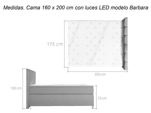 Dimensions of 160 x 200 cm Barbara Bed with LED Lights