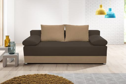 Sofa Bed with Side Cushions (Armrests) - Lorca. Seat and Armrests in Dark Brown, Base and Backrest Cushions in Light Brown