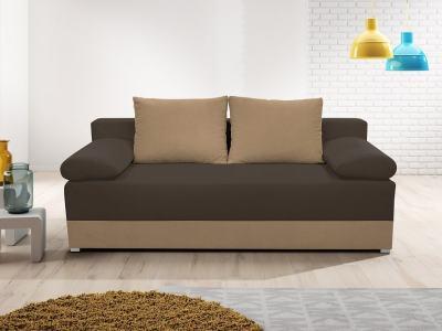 Sofá cama con cojines laterales (brazos) - Lorca. Asiento y brasos - tela marrón (café), base y respaldo tela marrón (mocca)