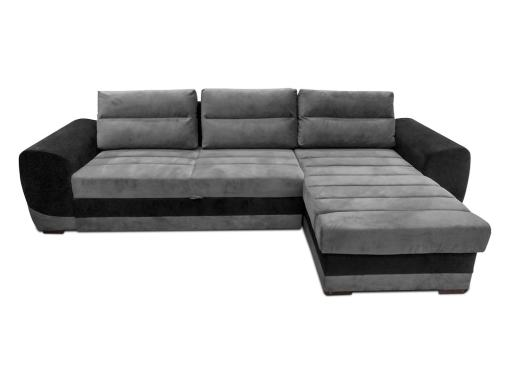 Sofá chaise longue cama tapizado en tela de color gris y negro. Vista frontal - Cayman