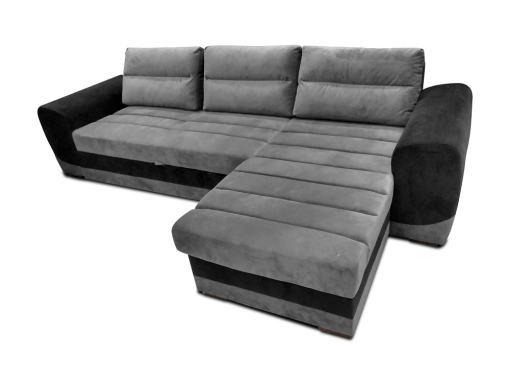 Sofá chaise longue cama tapizado en tela gris y negro - Cayman