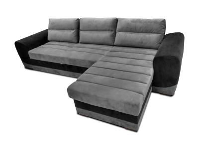 Chaise Longue Sofa with Pull-Out Bed Upholstered in Grey and Black Fabrics - Cayman