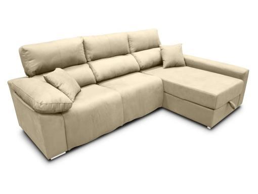 Sofá chaise longue (derecha) relax eléctrico 2 asientos motorizados - Valencia. Tela antimanchas beige (crema)