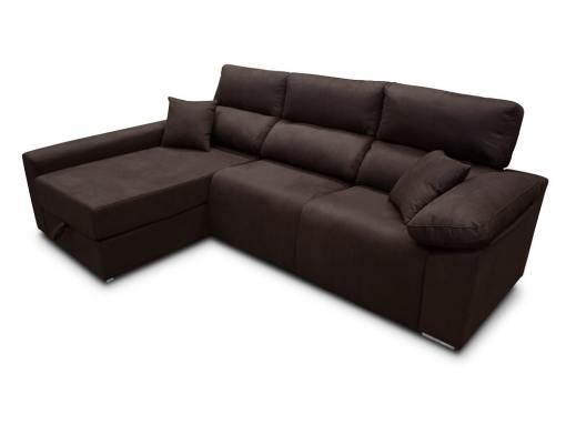 Sofá chaise longue (izquierda) relax eléctrico 2 asientos motorizados - Valencia. Tela antimanchas marrón oscuro (chocolate)
