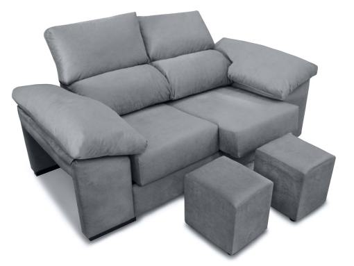 Sofá 2 plazas, asientos deslizantes, respaldos reclinables, 2 pufs - Toledo. Tela antimanchas gris