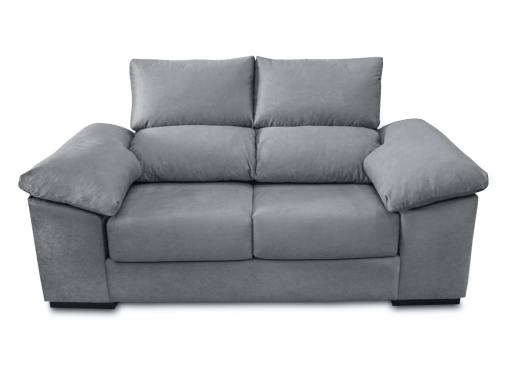 Vista frontal. Sofá dos plazas, asientos deslizantes, respaldos reclinables, 2 pufs - Toledo. Tela antimanchas gris