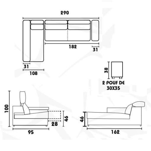 Medidas del sofá chaiselongue con asientos deslizantes, arcón y 2 pufs - Murcia