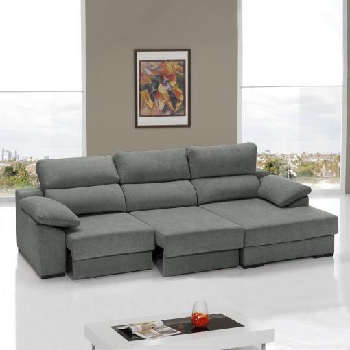 Sofá cama con asientos deslizantes color gris. Chaise longue lado derecho - Alicante