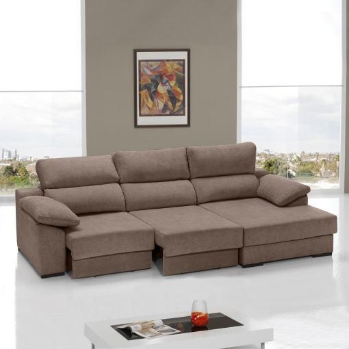 Sofá cama con asientos deslizantes color marrón. Chaise longue lado derecho - Alicante
