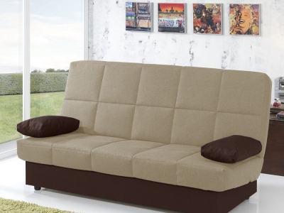 Sofá cama libro económico. Tela beige (asiento) y marrón chocolate (cojines). Fortuna