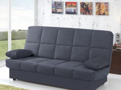 Inexpensive Folding Sofa Bed. Dark Grey Fabric. Fortuna