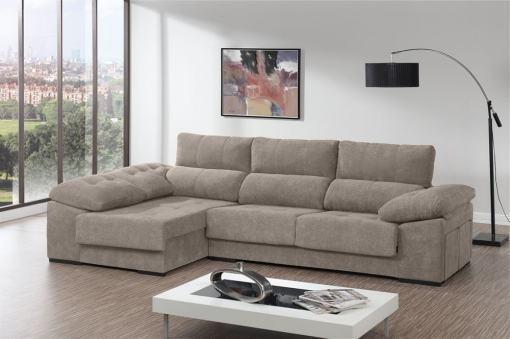 Sofá chaiselongue con asientos deslizantes, arcón y 2 pufs - Murcia. Tela beige. Chaiselongue lado izquierdo