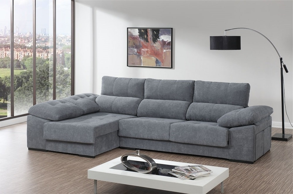 Chaise Longue Sofa Bed with Adjustable Seats, Reclining Backrest, Storage  and 2 Footstools - Murcia