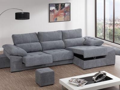Sofá chaiselongue con asientos deslizantes, arcón y 2 pufs - Murcia
