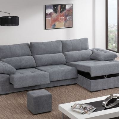Chaise Longue Sofa Bed with Adjustable Seats, Reclining Backrest, Storage and 2 Footstools - Murcia. Corner on the Right