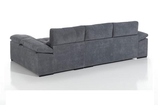 Tapizado detras. Sofá chaiselongue con asientos deslizantes, arcón y 2 pufs - Murcia