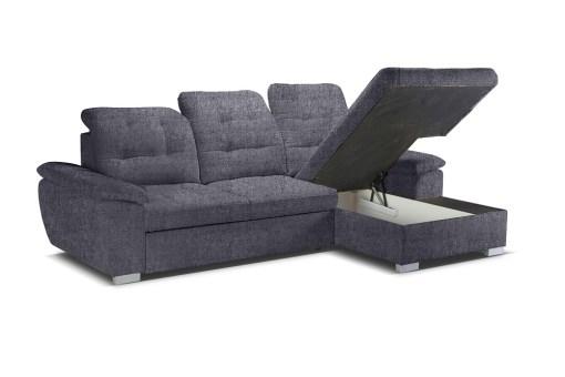 Arcón debajo de la chaise longue. Sofá chaise longue cama, alto respaldo con reposacabezas reclinables. Tela gris Irnari 94 – Windzor