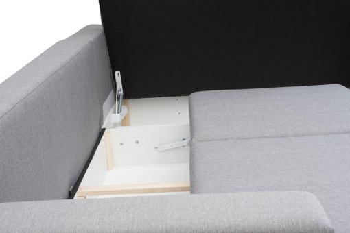 Storage Compartment Under the Longer Part Open - Corner Sofa Harbour