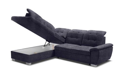 Storage Under the Seat. Corner Sofa with High Backrest, Reclining Headrests, Bed and Storage - Hamilton