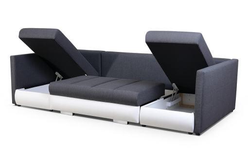 Arcones abiertos. Sofá en forma de U pequeño con cama, 2 chaise longues y 3 arcones - Bora