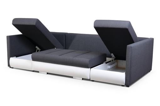 Storage Open. Small U-shaped Sofa with Bed, 2 Chaise Longues, 3 Storages - Bora