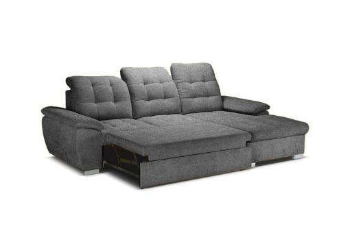 Bed Pulled-out. Chaise Longue Sofa with High Backrest, Reclining Headrests, Bed and Storage - Windzor