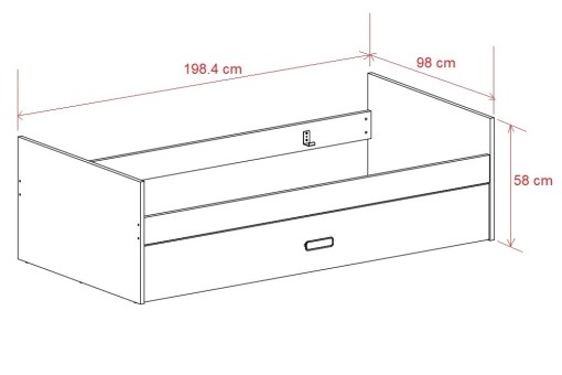 Dimensions. Bed with Pull out Trundle - Rimini