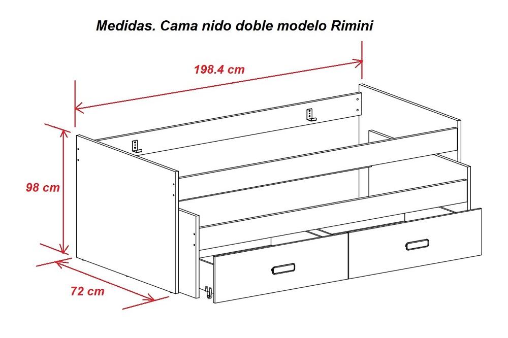 Cama nido doble con cajones rimini don baraton tienda - Medidas camas infantiles ...