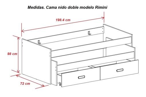 Medidas. Cama nido doble con cojines Rimini