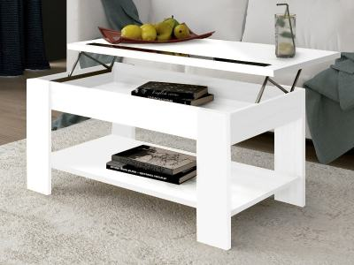 White Lift up Coffee Table with Shelf Underneath – Ayora