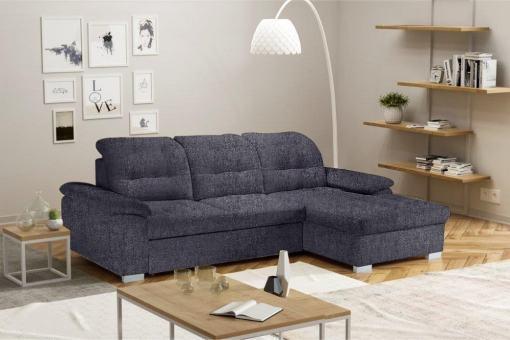 Угловой диван с кроватью и регулируемыми подголовниками - Windzor. Правый угол. Серая ткань Inari 94