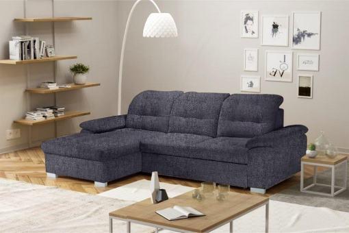 Sofá chaise longue cama, alto respaldo con reposacabezas reclinables. Chaise longue lado izquierdo. Tela gris Inari 94 – Windzor